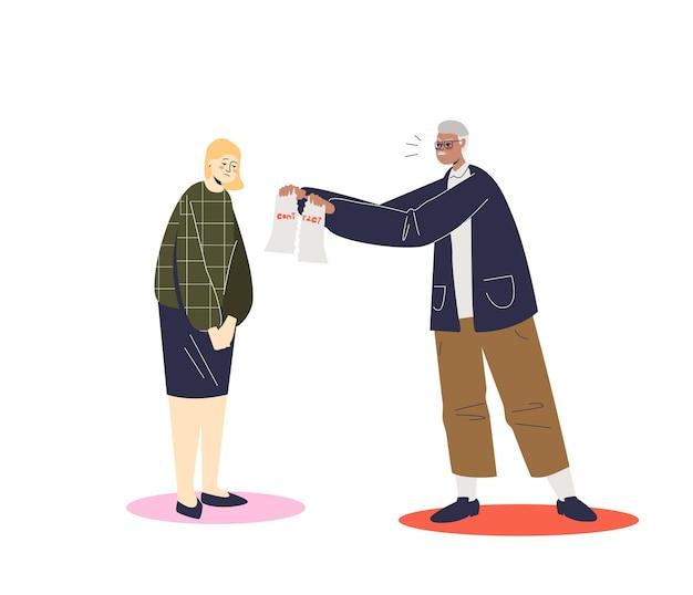 Бизнесмен разрывает контракт с сотрудницей, разрывающей иллюстрацию документа
