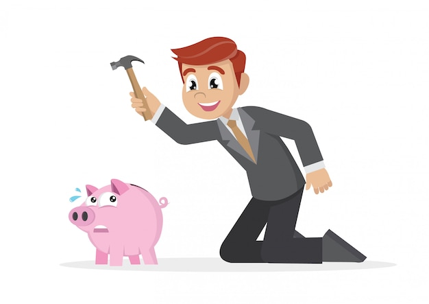 Businessman breaking piggy bank.