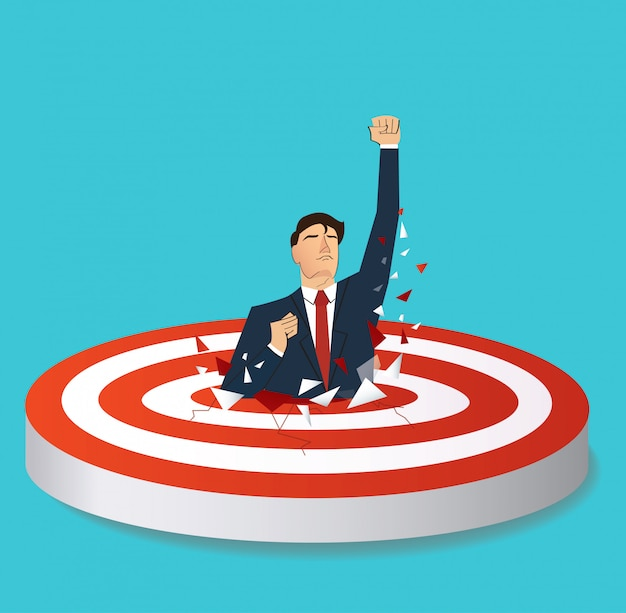 Businessman breaking target archery to successful