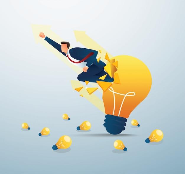 Бизнесмен прорыв лампочку для успешного