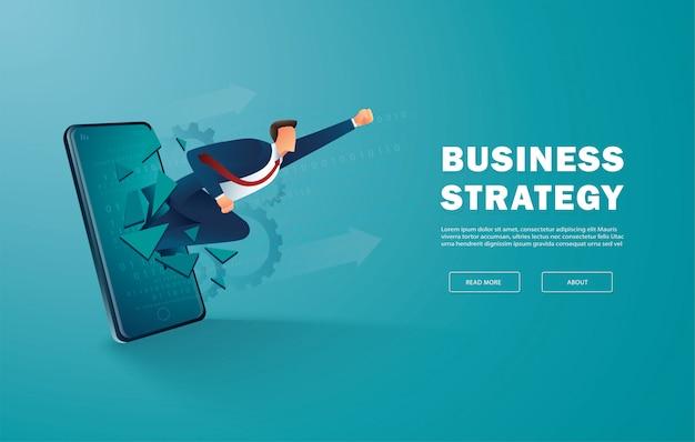 사업가 획기적인 모바일 화면 성공