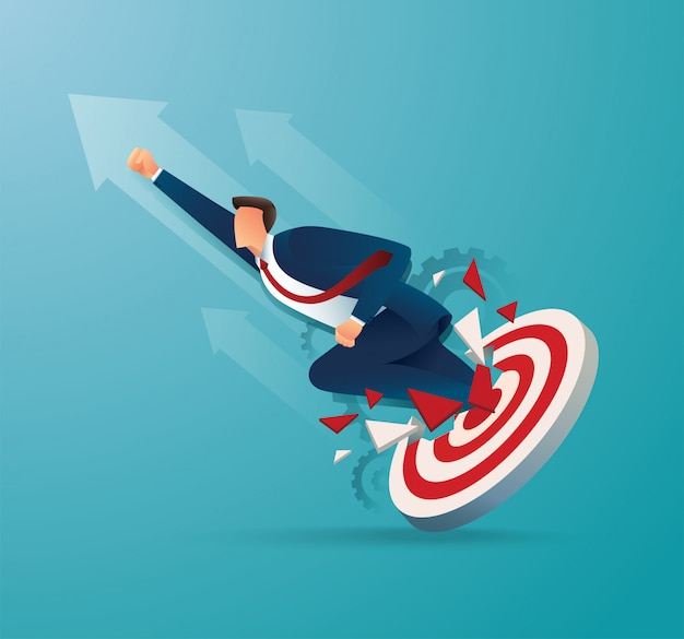 Businessman breakthrough the target archery to successful vector illustration