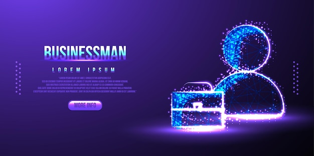 Businessman and briefcase low poly wireframe