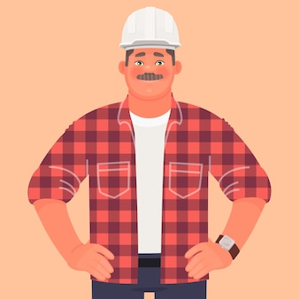 Businessman builder engineer at construction site. foreman or production manager. a man in a helmet and dressed in work clothes.