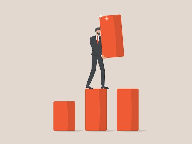 Бизнесмен, строящий шаги для своей корпоративной карьеры
