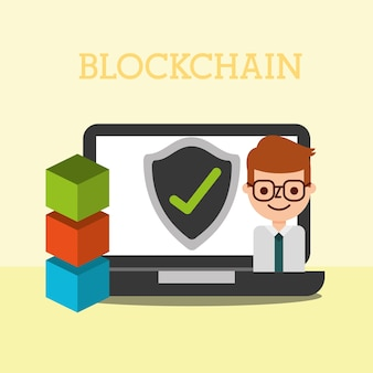 Businessman business laptop blockchain  check mark