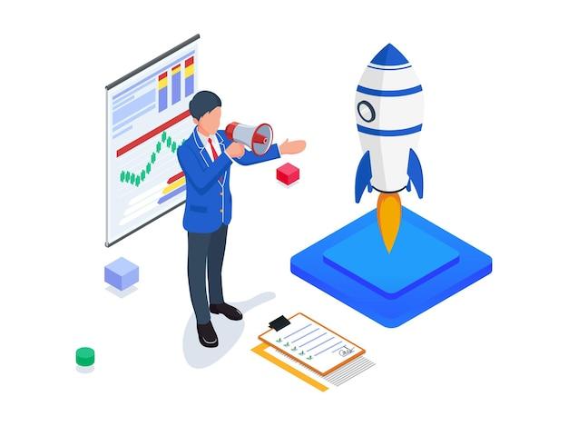 Businessman do business promotion. isometric startup illustration.