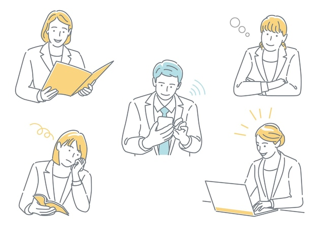 Businessman and business woman working in their office expressing different emotions