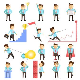 Businessman and business work vecor illustration