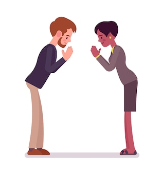 Businessman and businesswoman bow gesture
