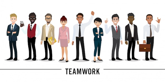 Businessman and businesswoman cartoon character teamwork