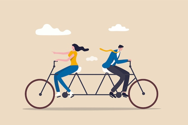 Businessman and businesswoman colleagues or working team trying hard riding bicycle in opposite direction. Premium Vector