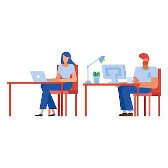 Businessman and businesswoman at desk , man woman business management