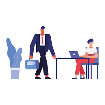Businessman and businesswoman at desk with laptop , man woman business management