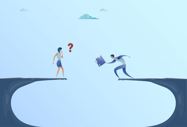 Businessman and businesswoman giving documents over cliff gap mountain business people cooperation help teamwork concept
