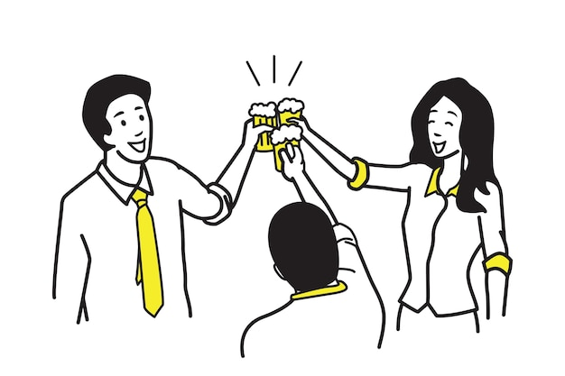 Businessman and businesswoman holding glasses of beer to celebrate party.