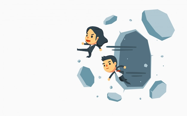 Businessman and businesswoman knock down thick walls.