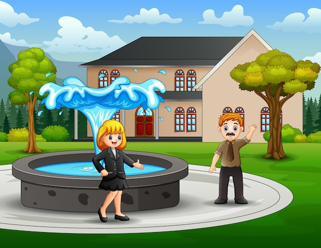 A businessman and businesswoman in the park illustration