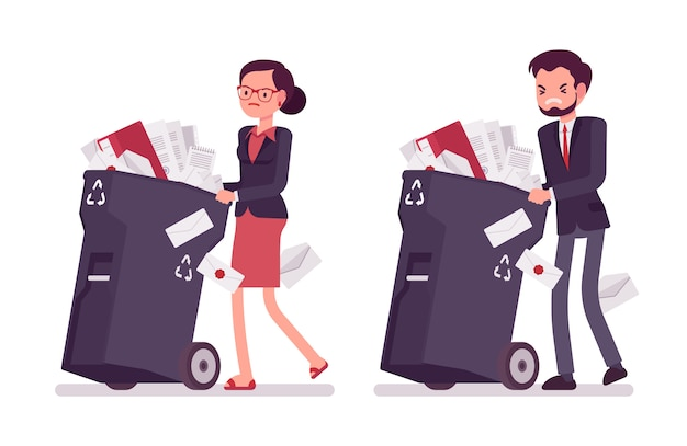Businessman and businesswoman pushing wheeled trash bins with documents