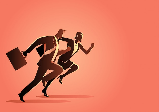 Businessman and businesswoman running