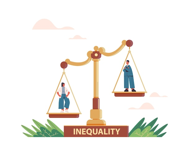 Businessman and businesswoman on scales business corporate inequality concept gender male vs female unequal opportunities
