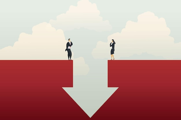 Businessman and businesswoman standing on each side down arrow graph profit loss