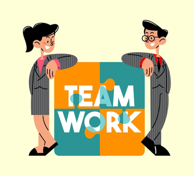 Businessman and businesswoman standing on a teamwork puzzle flat vector illustration