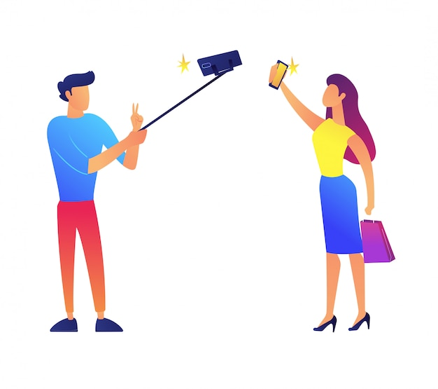 Businessman and businesswoman taking selfie vector illustration.