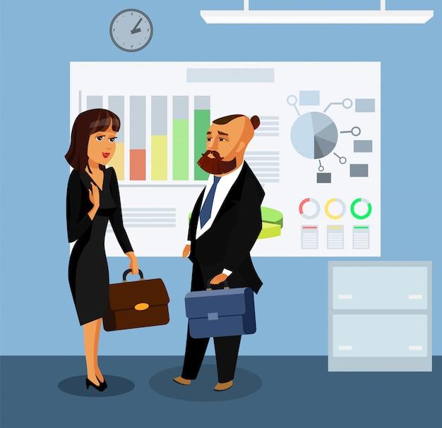 Businessman and businesswoman vector illustration.