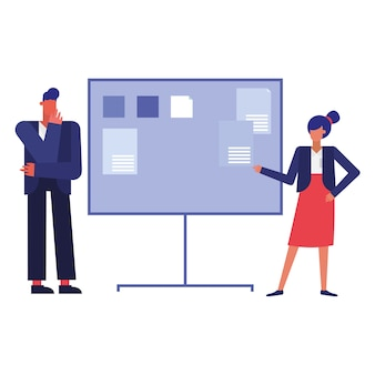 Businessman and businesswoman with board , man woman business management