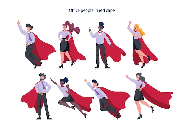Businessman and businesswoman with red superhero cloak set. man and woman with a power and motivation in different poses. idea of leadership.