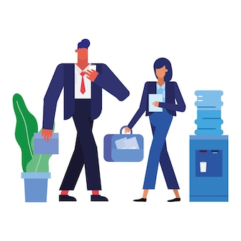 Businessman and businesswoman with water can and plant , man woman business management