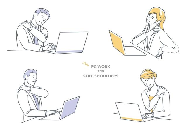 Businessman and businesswoman working on laptop computer having stiff shoulders