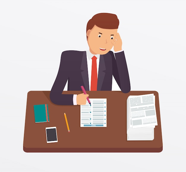 Businessman busy with documents