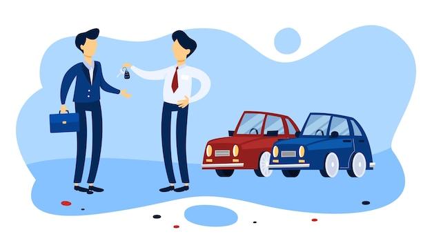 サロンで新しい車を買うビジネスマン。バイヤーにキーを与えるセールスマン。孤立したフラット