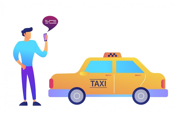 Businessman calls a taxi using mobile app concept. isolated