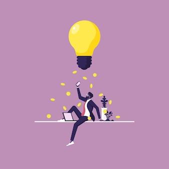 ビジネスマンはお金の革新と創造性をもたらす素晴らしいアイデアを思いついた