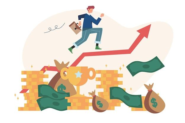 성공에 사업가 경력 상승 밧줄을 통해 실행 화살표 위로 날아 프리미엄 벡터