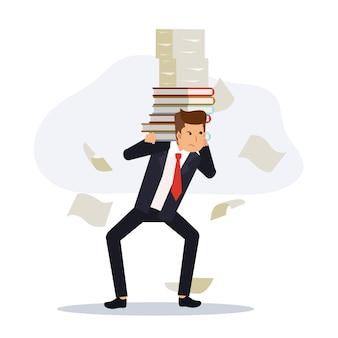 Бизнесмен, несущий здоровую стопку бумаги. бизнес-концепция слишком перегружает работу. плоские векторные иллюстрации персонажа из мультфильма.