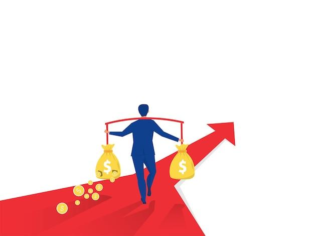 Бизнесмен, несущий разорванный денежный мешок с кризисом и рецессией. финансовые потери .