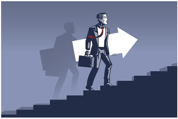 Businessman carrying arrow taking steps on stairs. business illustration concept of business development