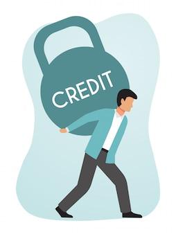 金融信用の重い重量を運ぶビジネスマン。クレジットの負債を抱える男性。少年は巨額の貸付金を抱えています。