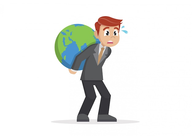 Businessman carrying huge world globe on his back.
