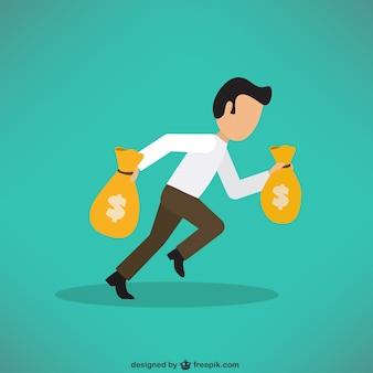 Uomo d'affari che porta un sacco di soldi