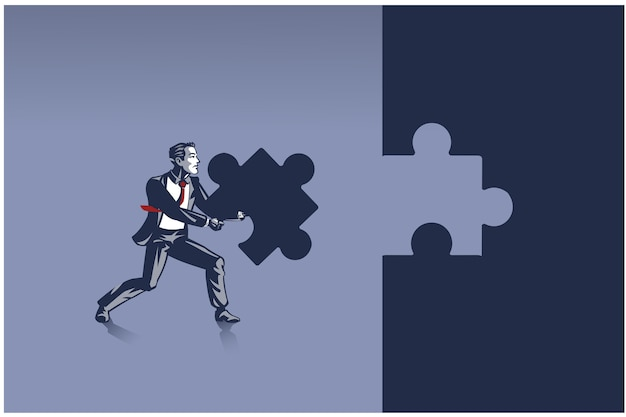 Businessman carrying piece of jigsaw puzzle trying to place it where it belongs. concept illustration of problem solving person in business human resource