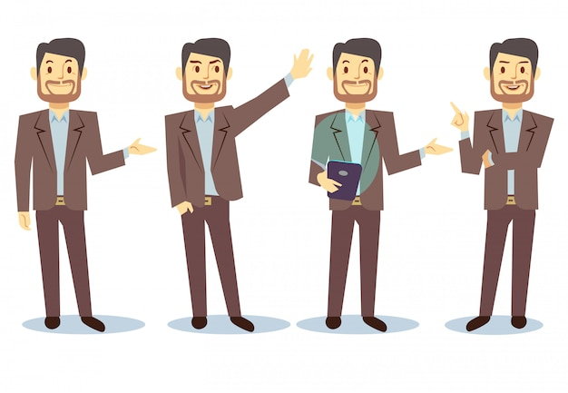 Businessman cartoon character in different poses for business presentation set