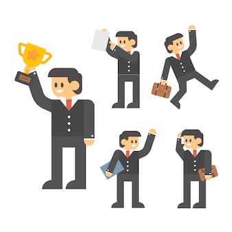 Businessman cartoon character in different poses.
