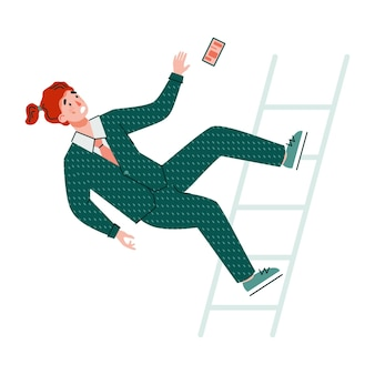 Businessman cartoon character falls from stairs flat vector illustration