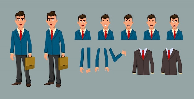 Businessman cartoon character for motion design and animation