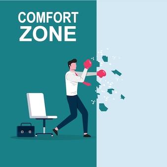 Бизнесмен мультипликационный персонаж пробивая стену иллюстрации зоны комфорта.